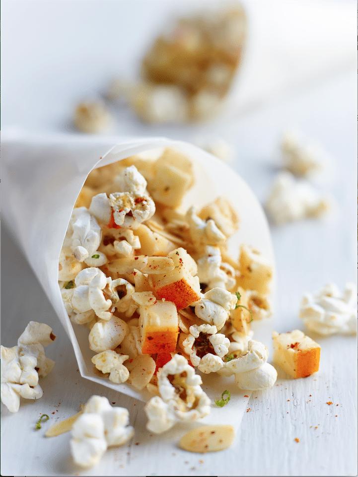 Popcorn met Chaumes en amandelen
