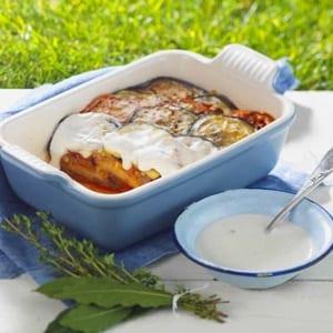 Provençaalse ovenschotel van zuiderse groenten met Chavroux