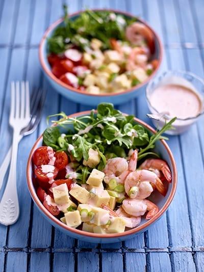 Salade van garnalen met Père Joseph en sweet chilisaus