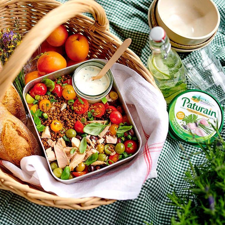 Provencaalse salade met linzen en een dressing van Paturain